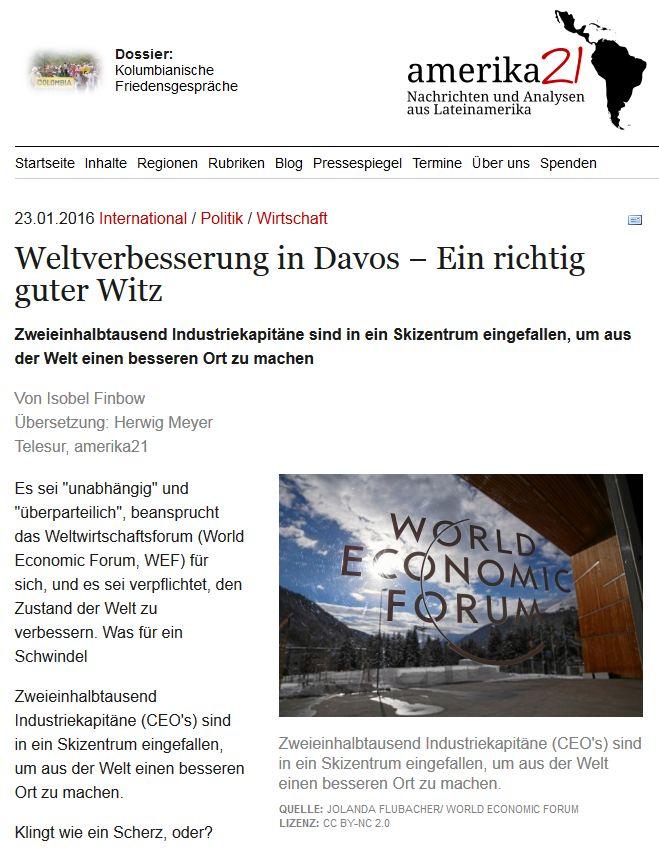 """Die """"Weltverbesserer"""": Konzerne, Banken und IWF. Amerika21 vom 23. Januar 2016"""