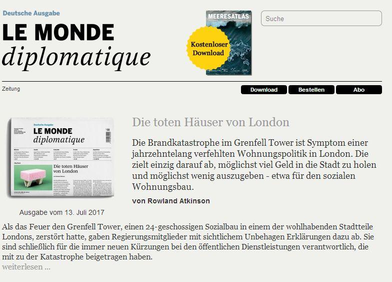 Aktuell sehr empfehlenswerter Artikel über Gentrifizierung. (Le Monde Diplomatique, 13. Juli 2017)