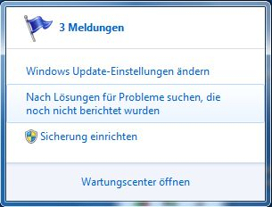 Pop-Up des Wartungscenter in Windows 7