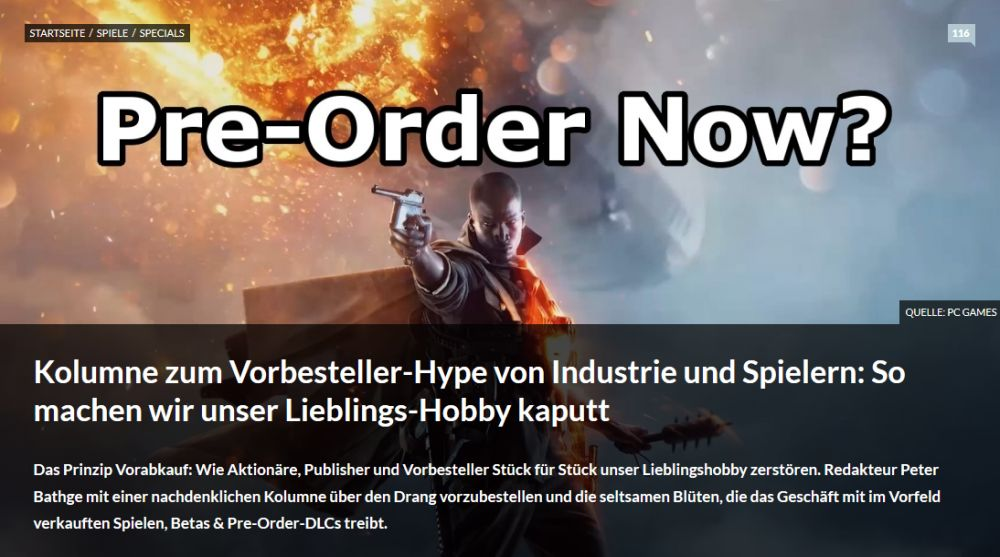 Peter Bathge. PC Games vom 25. September 2016