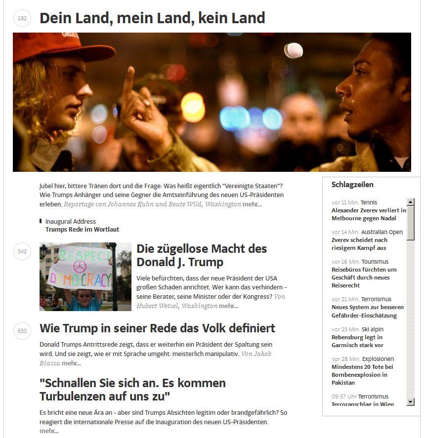 sueddeutsche.de vom 21. Januar 2017