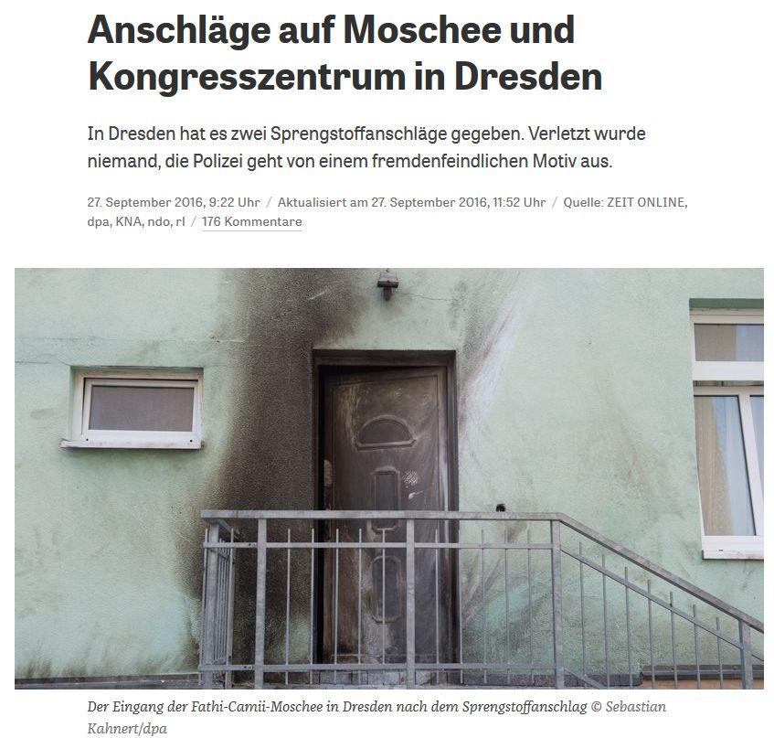 Diese verdammten Flüchtlinge zerbomben sich wieder mal selbst! (zeit.de vom 27. September 2016)